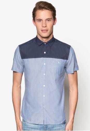 色塊修身短袖襯衫esprit台灣outlet, 服飾, 襯衫
