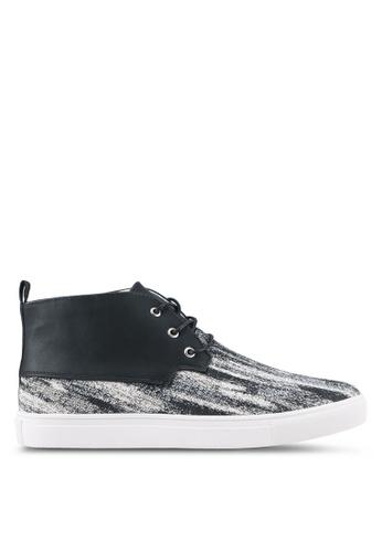 JAXON black Mixed Materials Tweed High Top Sneakers 5DD47SH1BA98ABGS_1