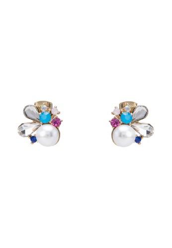 珍珠esprit au水鑽花卉耳環, 飾品配件, 飾品配件