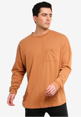 Cotton On 褐色 落肩長袖T恤 82427AABC1D98CGS_1