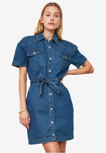 Trendyol blue Belted Mini Denim Dress 427AAAA71C95B7GS_1