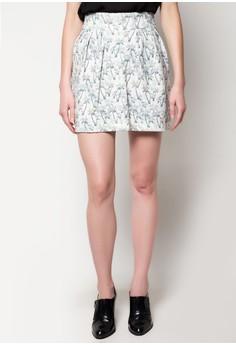 Palm Print Zip Mini Skirt