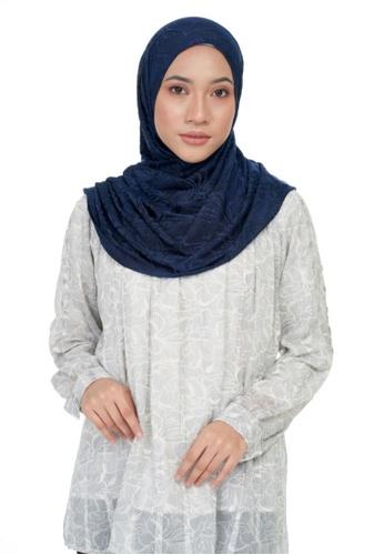 KASHKHA navy Jersey rhinestone decorative shawl-NAVBLUE 1FAC5AA621482DGS_1