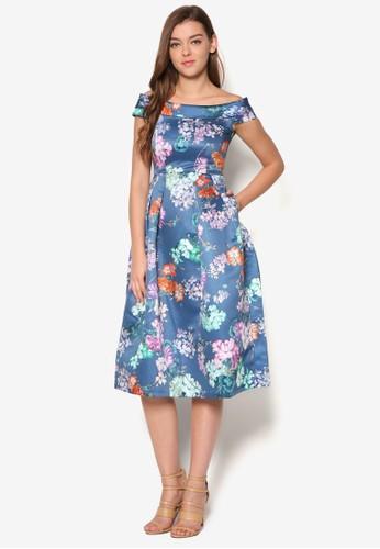 花卉露肩及esprit 內衣膝洋裝, 服飾, 洋裝