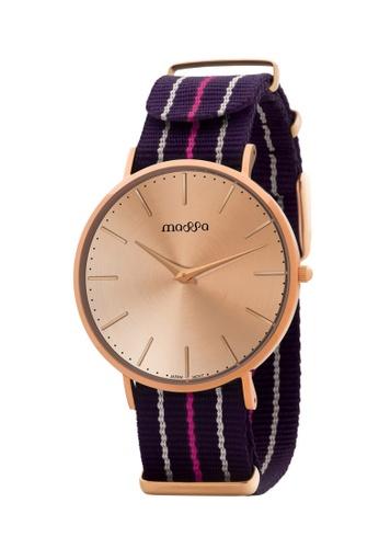 Massa Collections multi Grace Female Rose Rose w/ Purple Pink Nato Quartz Watch AB8F1AC9814B48GS_1