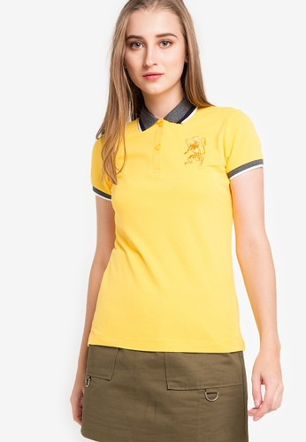 Giordano yellow and multi Polo Womens 3D Lion F63EBAA7850F5AGS_1