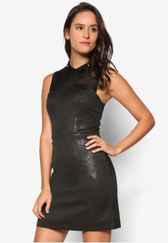Miss Selfridge black Black Collar Metallic Dress MI665AA65UTEMY_1