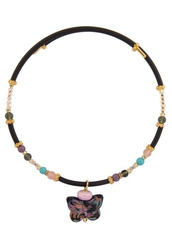 彩色玻璃蝴蝶套入項鍊, 飾品配zalora是哪裡的牌子件, 飾品配件
