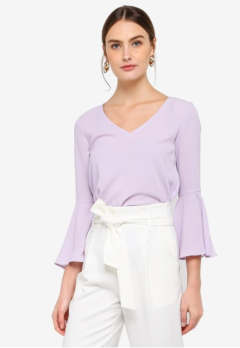 FORCAST purple Paola Fluted Sleeve Top D86CEAA19C0E33GS_1