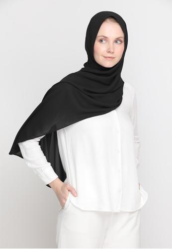 VELRIA black DOLLY Chiffon Shawl in Black 1F529AA4B65929GS_1