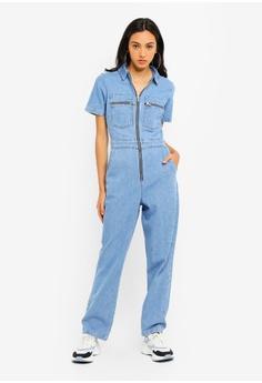 86ca6120c7f TOPSHOP blue Short Sleeve Denim Boiler Suit 25C05AA791DBF6GS 1