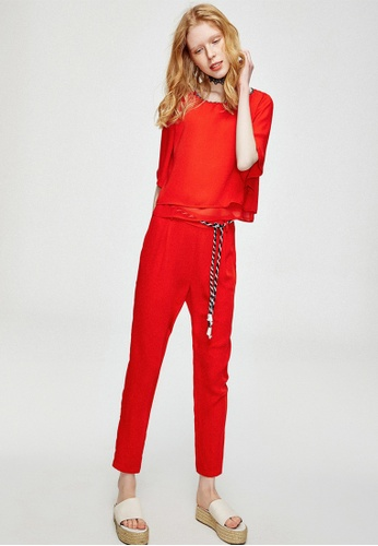 Hopeshow red 2 Piece Faux Playsuit with Colored Rope Belt HO442AA0GHTTSG_1