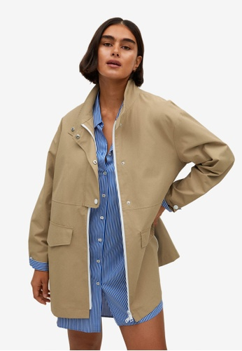 Violeta by MANGO beige Plus Size Cotton-Blend Trench Coat 70ECCAA1F64E07GS_1