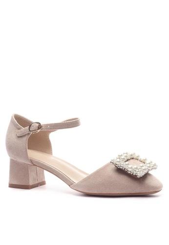 Twenty Eight Shoes 方頭珍珠扣絨面高踭鞋132-12 FD1CCSHF97544EGS_1