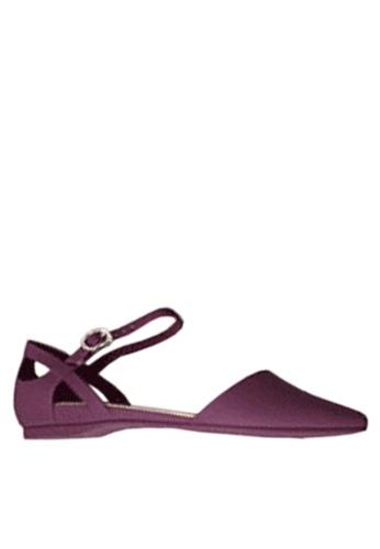 Twenty Eight Shoes 紫色 尖頭中空果凍膠平底鞋 VR5139 44CA0SH8BB5BFFGS_1