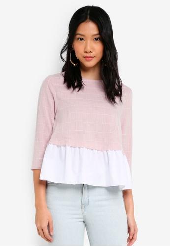 ZALORA white and pink Tweed Gathered Peplum Top 9646CAAEC4F17CGS_1