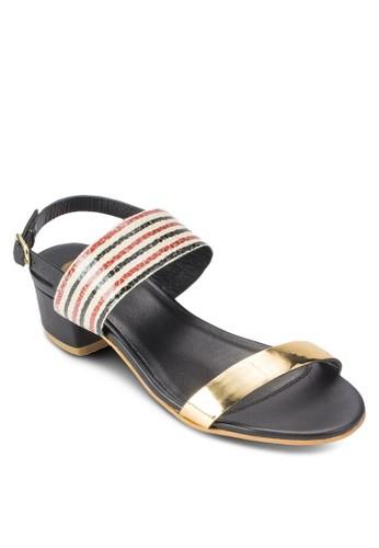 Calesprit outlet hkme 撞色寬帶中跟涼鞋, 女鞋, 鞋