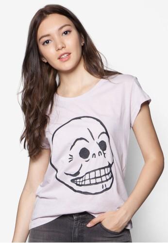 Cracked 骷髏頭設計TEE, 服飾, zalora鞋T恤