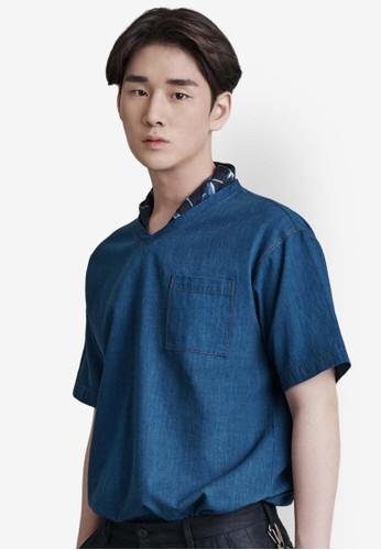 V 領丹寧短版TEesprit mongkokE, 服飾, 素色T恤