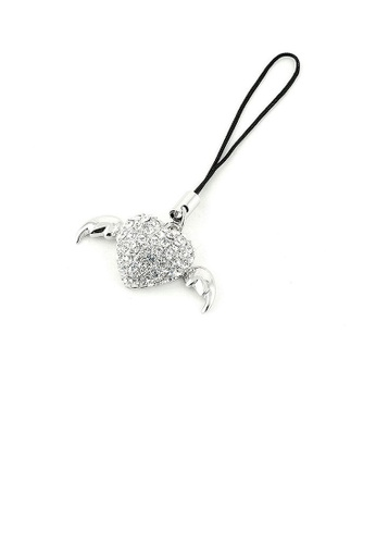 Glamorousky silver Black Strap with Winged Heart Charm in Silver Austrian Element Crystals DA740AC206986CGS_1