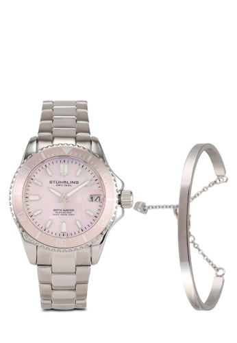 Stuhrling Original silver Depthmaster 3950AL Watch & Bracelet Set 56D5EAC9B68E83GS_1