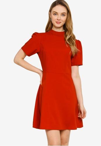 ZALORA WORK red Mock Neck A Line Dress 914AFAAB848E3AGS_1