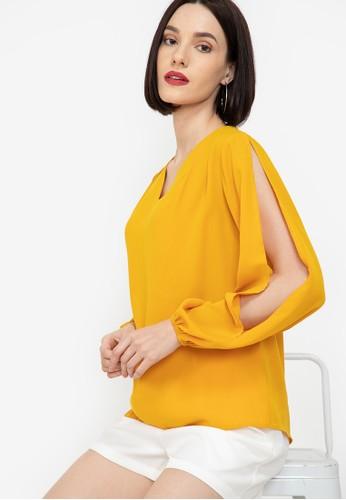ZALORA WORK yellow V Neck Slit Sleeves Blouse DB873AA4AE66ACGS_1