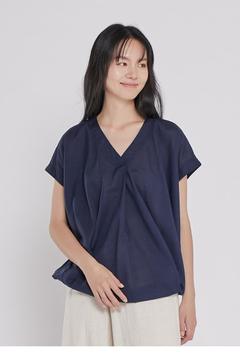 so that's me navy Vera V-neck drop sleeve Cotton Top Navy EB202AAF8B2DC8GS_1