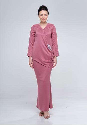 Deanne Drape Kurung from Haydena in pink and Purple