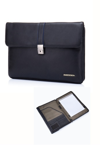 ENZODESIGN black Deluxe Soft Cow Leather A4/F4 Size Two Way Underarm Writing Padfolio(Blue Paint Edges) EN880AC64UYXHK_1