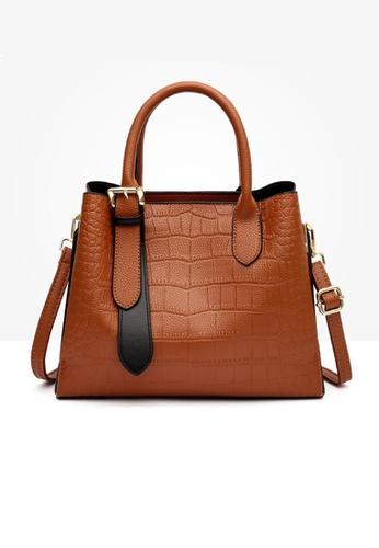 Lara brown Business Women's Crocodile-effect Embossed Leather Cross-body Bag Hand Bag - Light Brown 275ACAC894CDFCGS_1