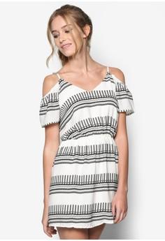 Tribal Geo Print Cold Shoulder Dress