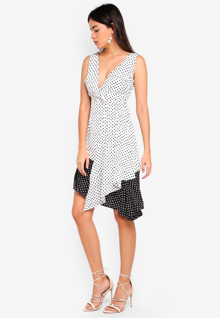 Contrast Spot Hem Alice Dress White Midi Lavish Black Flounce rRSdwAqr