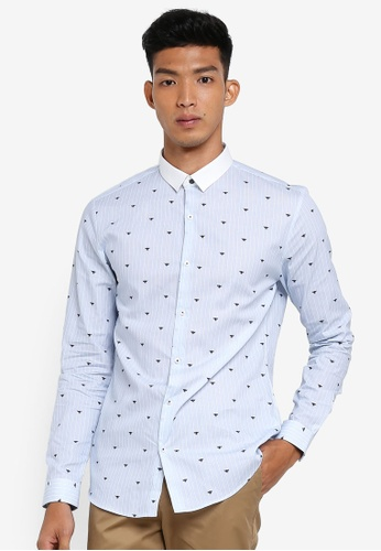 River Island blue Wasp Pinstripe Shirt 91A02AA0692177GS_1