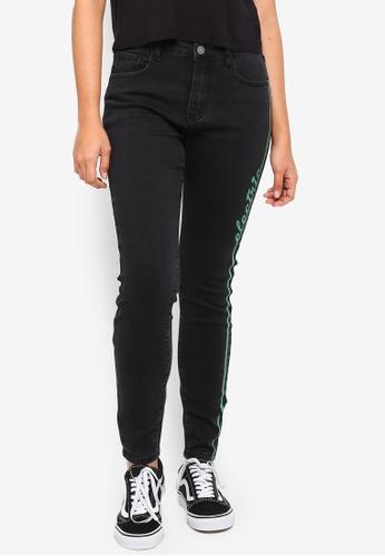 Something Borrowed black Side Seam Slogan Skinny Jeans 5C51BAA59AA772GS_1