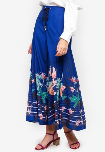 bYSI blue Drawstring Floral Trousers 5FEE3AA8481010GS_1