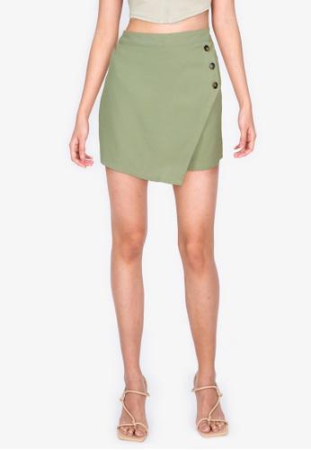 ZALORA BASICS green Wrapover Shorts with Buttons 8FB83AAA9127F5GS_1