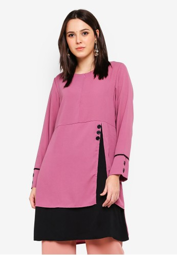 BYN purple Piping Detail Blouse 076F0AA6B6AF85GS_1