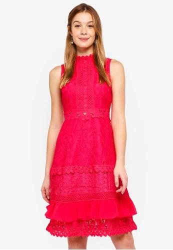 True Decadence red Sleeveless Lace Dress 3360CAA207835FGS_1