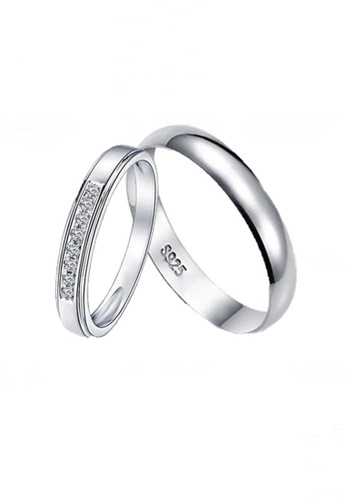 Elfi white and silver Elfi 925 Genuine Silver Couple Ring C20 EL186AC92ENVMY_1