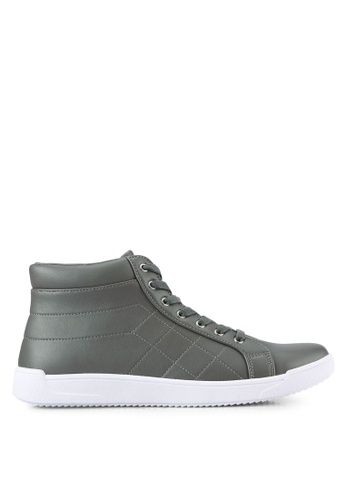 ZALORA grey Faux Leather Quilted High Top Sneakers 08AD2SH75E518CGS_1