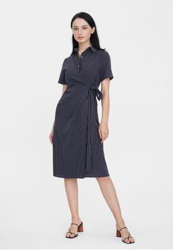 Pomelo blue Pinstripe Wrap Shirt Dress - Navy CC790AA6EFAFE2GS_1