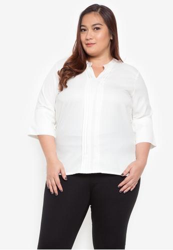 Maxine white Plus Size Pleated Blouse BDA58AAC18AD4EGS_1