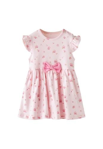 Little Kooma pink Baby Girl Ruffled Sleeves Pink w Roses Bodysuit Dress Pink Bowtie FF16DKABD74134GS_1