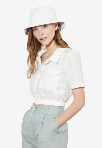 Trendyol white Short Sleeves Crop Shirt 008CCAAB5263DCGS_1