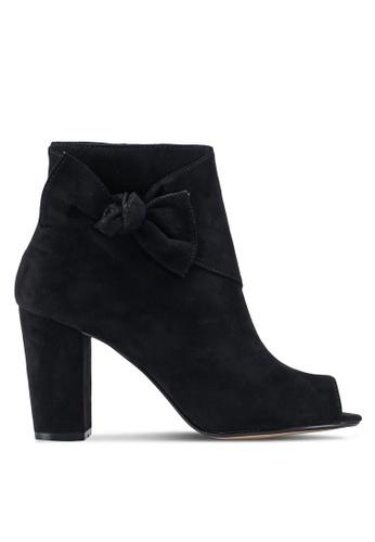Dorothy Perkins 黑色 麂皮魚口粗跟踝靴 FF775SH80CCF73GS_1
