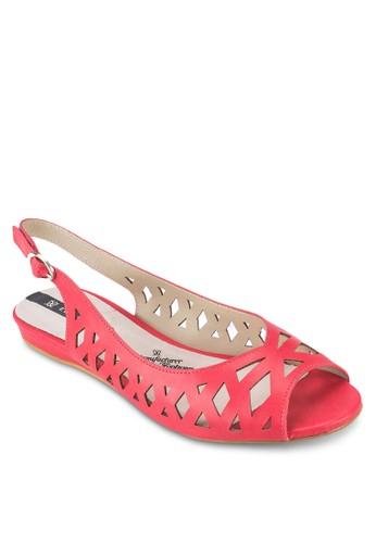 露趾鏤esprit台灣空平底涼鞋, 女鞋, 鞋