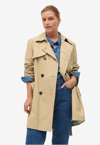 Violeta by MANGO beige Plus Size Classic Belted Trench Coat 80D0CAAAB1D59CGS_1