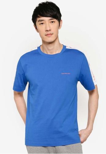 Calvin Klein 藍色 條紋T恤 C0FFFAA0C699C1GS_1