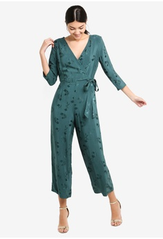 dc3779704e2 Miss Selfridge green Teal Self Tie Jacquard Jumpsuit 65293AA0847411GS 1